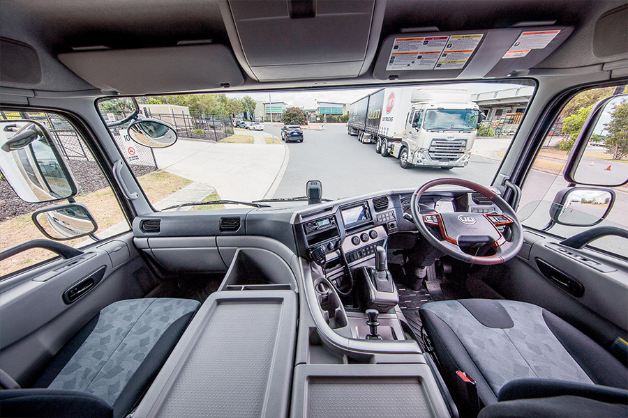 Wide view of a well-equipped Quon cab. Comfortable, practical and a touch of class